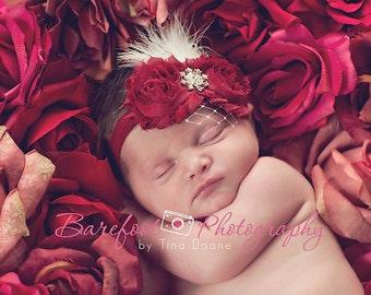 Baby Girl..Baby Headbands..Baby Headband..Baby Flower Headband..Christmas Headband..Burgundy Headband..White Feathers..Photo Prop