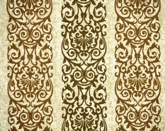 Retro Flock Wallpaper by the Yard Vintage Flock Wallpaper - 1970s Gold and Brown Flock Damask Stripe