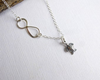 Infinity Sea Turtle Necklace  -- 925 Sterling Silver