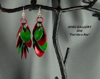 """Red and Green Anodized Aluminum Dragon Scales - 2 1/4"""" -  Shaggy Scales Earrings - Hand Crafted Artisan Jewelry"""