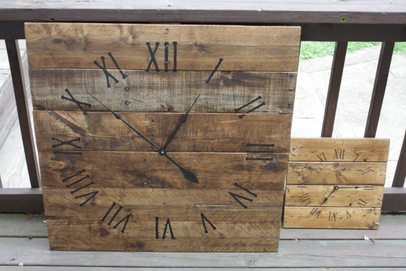Large Wall Clock Rustic Reclaimed Pallet Wood By Terrafirma79