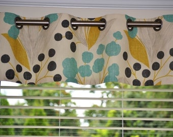 """Valance, window treatment, approximately 50"""" wide and 13"""" tall with lining and grommets, Portfolio Capparis Sunshine Fabric, ready to ship"""