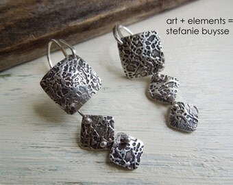 "Handmade ""Trio Squared"" Earrings - Fine Silver - Sterling Silver - Three Diamonds - Textured"