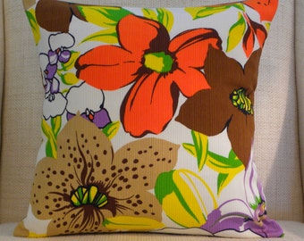 16 x 16 Pillow Cover - Vintage Giant Mod Flowers - Chocolate, Orange, Yellow, Green & Radiant Orchid