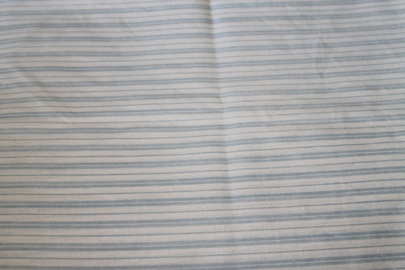 "Vintage Fabric, Blue Pin Stripe Fabric,1980's, REMNANT 26"" x 13"" Plus Inches"
