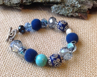 Shades of Blues and Turquoise Bracelet