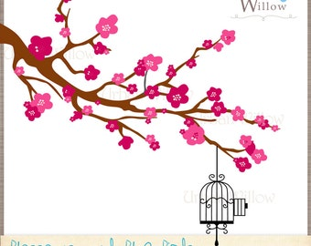 BLOSSOMS & BLUE Birds - Clip art for personal and commercial use,  in Png and Jpeg fles.