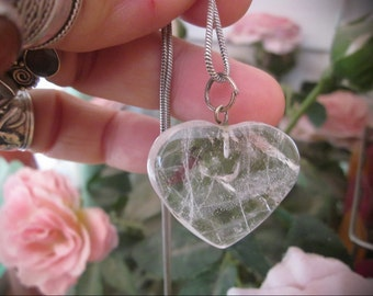 Natural WHITE QUARTZ Heart-Shaped Pendant WITH 925 Sterling Silver Chain