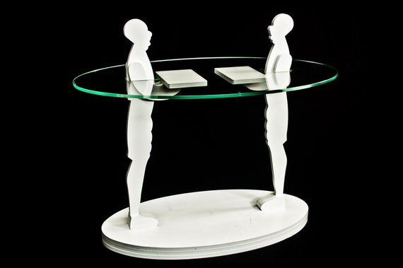 DUETTO / Glass Wood Sculpture Coffee Table