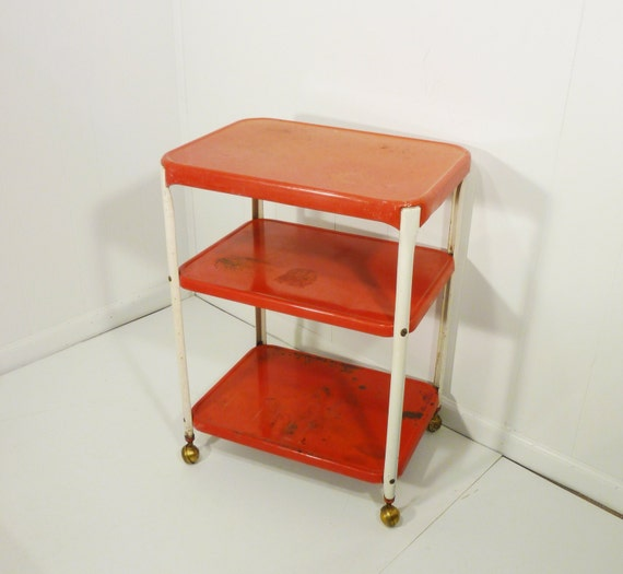 Vintage Metal Cart Serving Cart Kitchen Cart Red: Cosco Chippy Red Metal Kitchen Cart Movable Painted Vintage