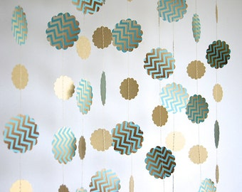 Chevron Paper Garland in Turquoise and Gold, Double-Sided, Bridal Shower, Baby Shower, Party Decorations, Birthday Decoration