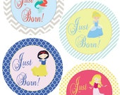ADD ON Just Born Stickers for Baby, Just Born Stickers  - Fairy Tale Princesses - Just Born Stickers -Baby Shower Gift - Baby