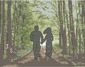Modern Wedding or Anniversary Cross Stitch Pattern Couple Walking In Woods