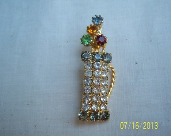Vintage Rhinestones Golf Bag Brooch  -  Retro Golf Bag Rhinestones Pin  -  Costume Jewelry  -  Collectible Pin Brooch
