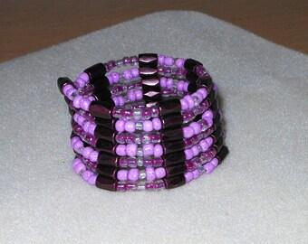 Magnetic Wrap Bracelet/Dark plum magnetic beads/necklace/choker/anklet