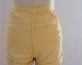Yellow Cotton Pin Up Shorts XS