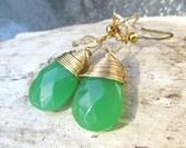 cute kelley green and gold gemstone tear drop wire wrapped dangle earrings