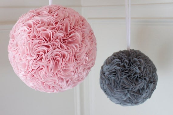 "Bloom Balls : Set of TWO (9"" and 12"") - Fabric Flower Balls - Choose your own color combo"
