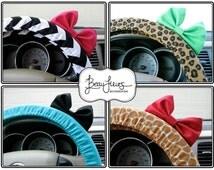 Steering Wheel Cover Bow - You Choose - Custom Steering Wheel Cover with Bow, Chevron, Animal Print, Cheetah, Pattern Steering Wheel BF11003