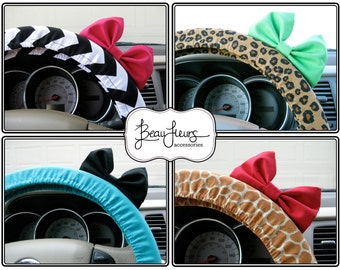 Steering Wheel Cover Bow - You Choose - Custom Steering Wheel Cover with Bow, Chevron, Animal Print, Cheetah, Pattern Steering Wheel BF11003