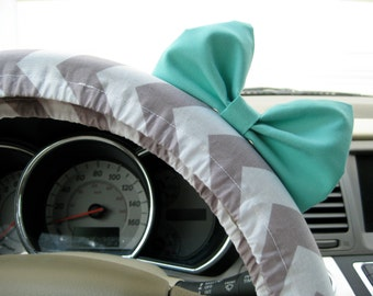 Steering Wheel Cover Bow, Weathered Grey Chevron Steering Wheel Cover with Seafoam Blue Bow, Grey Chevron and Blue Bow Wheel Cover BF11052