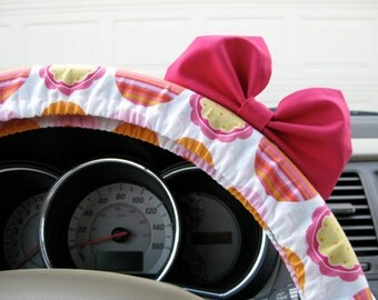 Steering Wheel Cover Bow, Birthday Cake Orange and Pink Steering Wheel Cover with Hot Pink Bow BF11241