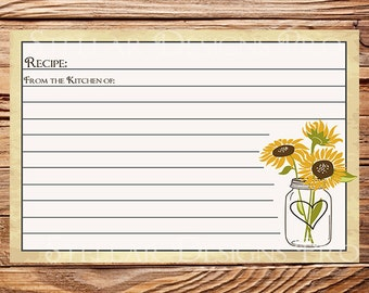 Recipe Card, Recipe Card Sunflowers Mason Jar, INSTANT DOWNLOAD, Bridal, Wedding Shower, Sunflowers, Mason Jar, 5145