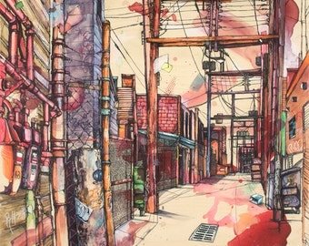 """Red and Purple Alleyway (Vancouver) Art Print 12"""" x 12"""" Reproduction Of Original Ink and Acrylic Painting"""