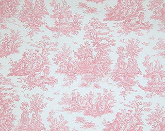 Jamestown Baby Pink Toile Fabric by the Yard Cut Yardage 1 Yard or More Shabby Chic Baby Nursery