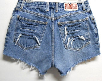 High Waisted  Denim BONGO Shorts -Distressed-- -Waist  29""
