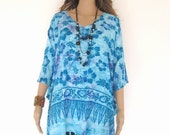 Turquoise Blue Bali Batik Top Tunic Kaftan Caftan Dress Blouse Loungewear Beach Cover Up Bridesmaids Bridal Pregnant Plus Size 3X 4X 5X