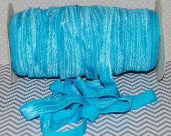 "Turquoise Blue FOE Fold Over Elastic -5 yds  Turquoise 317- Shiny FOE 5/8"" inch Baby Headbands Hair Ties Satin Elastic Soft Elastic FOE 15mm"