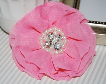 Pink Fabric Flowers - 3.5' soft chiffon and sheer layered fabric flowers with rhinestone pearl centers Hair hat boutique flowers Lorna