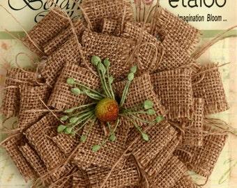 "Naural Burlap Flower large 3.75"" Tan Beige fabric flower blossom 1202-000  for  headbands hat flower rustic  flower decoration brooch flower"
