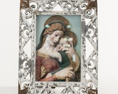 Framed Madonna and Child - chippy, rusty, distressed frame 5.5 x 7 inches
