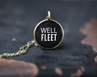 Wellfleet Cape Cod Necklace - Miniature Pendant - Vintage Typewriter Key Inspiration - Glossy Resin Charm