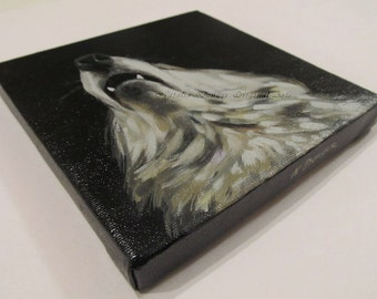SALE, Wolf, ORIGINAL 6x6 Painting, Wolf, Wild Animal, Face, Gray, Black, Custom Portraits Available, Howling to the Moon