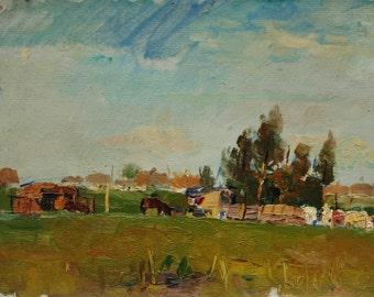 "Oil on cardboard original painting ""Farm in Martovaya Village""  1958 by russian artist Ivan Filichev"
