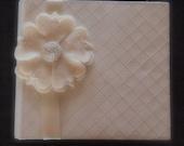 Photo Album Ivory Silver Flower