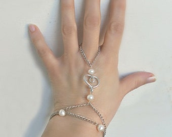 Slave Bracelet Hipster- Heart, white freshwater pearls-Metal Chain silver tone- wedding jewelry  - Jewelry Piece