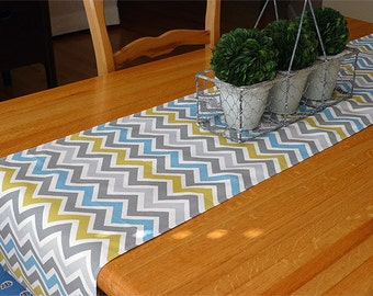 Chevron Zoom Table Runner - Table Linens- Home Decor- Dinner Party, Holiday, Wedding- Linens - Chevron Zoom Blue Grey Zoom