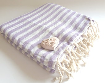 Natural Turkish Towel, Peshtemal, beach towel, bath towel, pareo, sarong, yoga, Spa, Striped Beach Towel, Lilac color