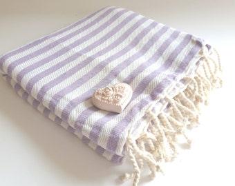 Natural Turkish Towel, Peshtemal, beach towel, bath towel, pareo, sarong, yoga, Spa, Striped Beach Towel, Lilac color, Christmas gift