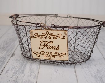 "Rustic Wedding ""Fans"" Sign (4 x 5"")  for Your Rustic, Country, Shabby Chic Wedding- Ready to Ship"