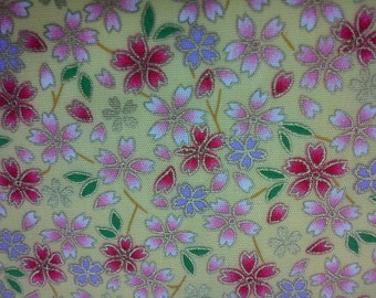 Japanese sakura, gold metallic, yellow, fat quarter, pure cotton fabric