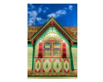 Victorian Cape May Window and Roof Color Photography Pink and Green HDR Photograph Art Print Home Decor Wall Art 6X9 Metallic Paper