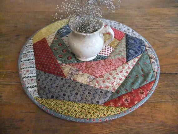Round crazy quilted table topper for Round table runner quilt pattern