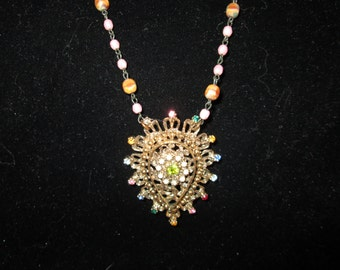 Vintage Art Deco Nouveau necklace with pearls rhinestones