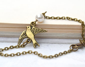 Black Friday sale Cyber Monday sale Christmas gift White ivory pearl bronze bird bracelet bridesmaids bracelet bangle friendship bracelet