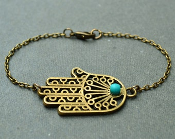 Bronze bracelet for men hamsa bracelet gift for men turquoise bracelet sale bracelet for him bangle bracelet charm bracelet for husband gift